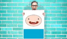 Finn Adventure time face Art - Wall Art Print Poster Pick A Size - Cartoon Art Geekery